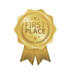 first place win gold badges vector image