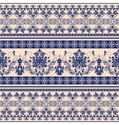 Floral border ornament damask seamless pattern vector