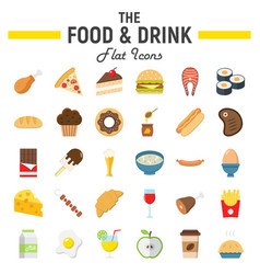 food and drink flat icon set meal signs vector image vector image