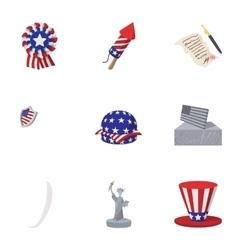 Holiday of usa icons set cartoon style vector