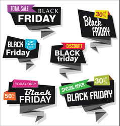 modern origami sale stickers and tags black vector image