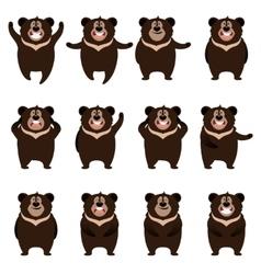 Set of flat moon bear icons vector image vector image