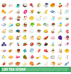 100 tea icons set isometric 3d style vector image