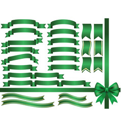 a set assorted green ribbons vector image