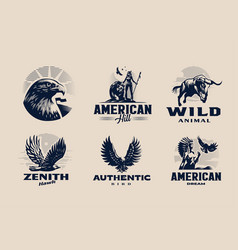 a set on american theme vector image