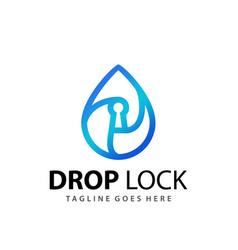 abstract gradient drop water lock logo design vector image