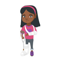 african sad injured girl with broken arm and leg vector image vector image