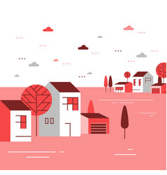 autumn season in small town tiny village view vector image