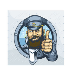 Bearded captain ship showing everything vector
