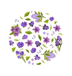 beautiful flowers round shape elegant vector image