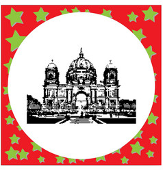 black 8-bit berlin cathedral germany vector image