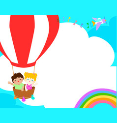 blank template happy kid in the balloon poster vector image