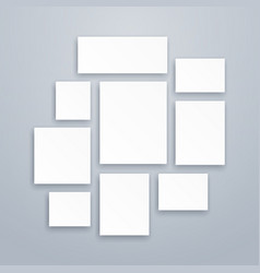 Blank white 3d paper canvas or photo frames vector