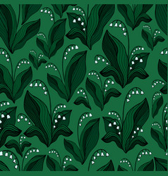 blooming lily valley forest seamless vector image