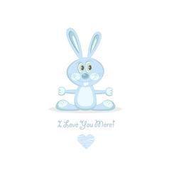 Blue love rabbit vector