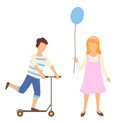 boy balancing on scooter and girl with air balloon vector image