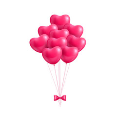 Bundle balloons form hearts bow isolated vector