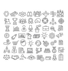 Business icons set in line style vector