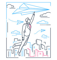 businessman flying on a paper plane - line design vector image