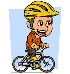 Cartoon brunette boy character riding on bicycle vector