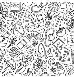 Cartoon summer time seamless pattern vector