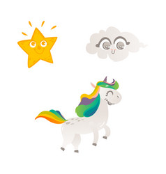 cartoon unicorn character isolated vector image