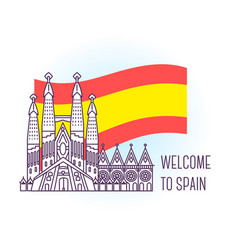 catholic cathedral barcelona landmark symbol of vector image