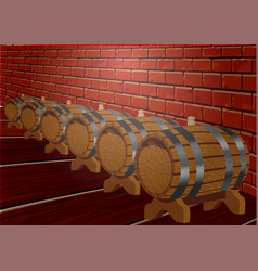 Cellar with barrels vector