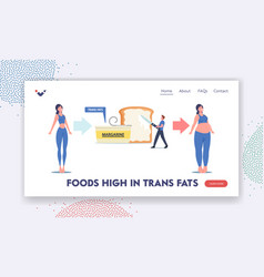 characters unhealthy eating obesity landing page vector image