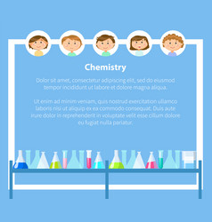 Chemistry lessons at school pupils and text sample vector