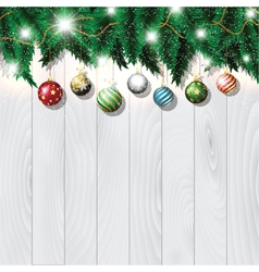 Christmas baubles on wood vector