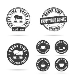 coffee break icon with grunge rubber set vector image