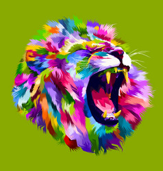 colorful angry lion head vector image