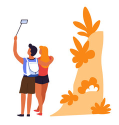 couple traveling taking selfie man and woman vector image