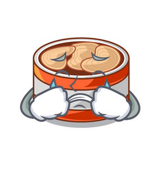 Crying canned tuna in cartoon shape vector