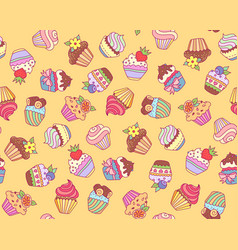 Cupcakes pattern yellow vector