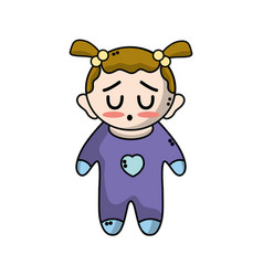 cute baby girl with hairstyle and clothes vector image vector image