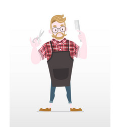 cute flat style hipster barber vector image