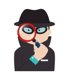 Detective agent with magnifying glass vector