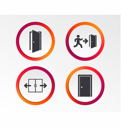 Doors signs emergency exit with arrow symbol vector