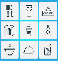 Eating icons set with soft drink cutlery beer vector