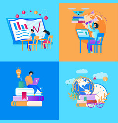 Educational icon set on multicolored background vector