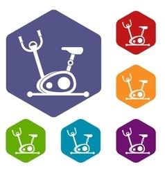 Exercise bike icons set vector image