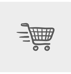 Fast delivery shopping sketch icon vector image