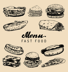Fast food menu in burgers hot dogs vector