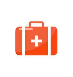 first aid suitcase in cartoon style isolated badge vector image