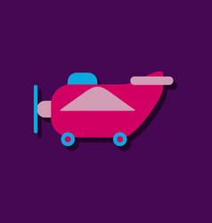 Flat icon design retro plane toy in sticker style vector