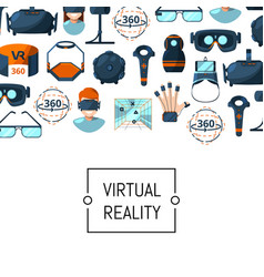 flat style virtual reality elements vector image