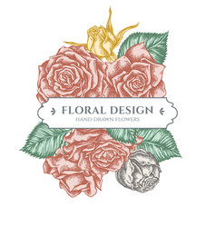 floral bouquet design with pastel roses vector image