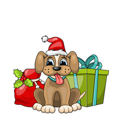 Funny dog wearing santa hat with christmas gift vector